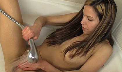 Almost Girl naked playing with the shower head remarkable